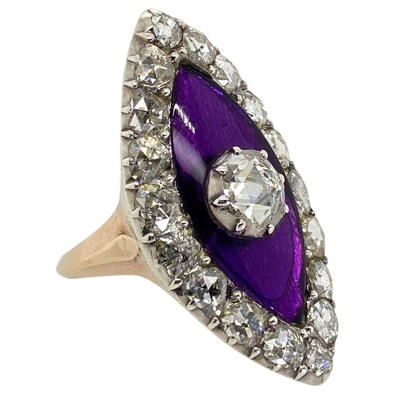 Georgian Navette Purple Glass and Rose Cut Diamond Cocktail Dress Ring For Sale 3