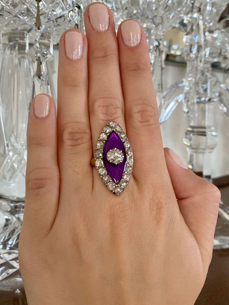 Georgian Navette Purple Glass and Rose Cut Diamond Cocktail Dress Ring For Sale 4