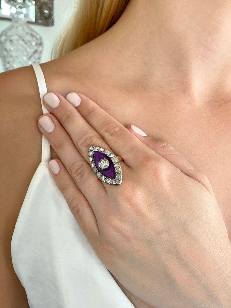 Georgian Navette Purple Glass and Rose Cut Diamond Cocktail Dress Ring For Sale 5