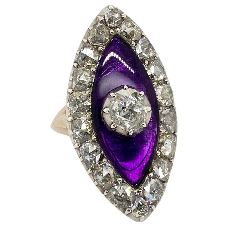Georgian Navette Purple Glass and Rose Cut Diamond Cocktail Dress Ring For Sale