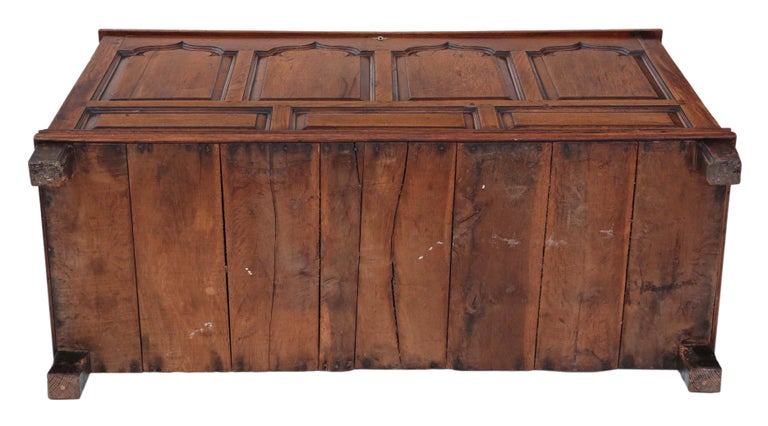 Georgian Oak Coffer or Mule Chest 19th Century For Sale 7