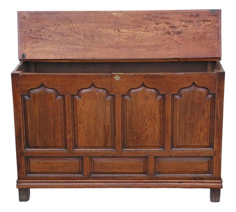 Georgian Oak Coffer or Mule Chest 19th Century For Sale 1