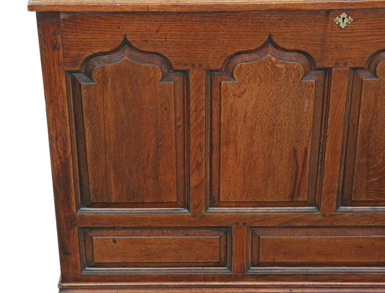 Georgian Oak Coffer or Mule Chest 19th Century For Sale 4