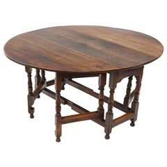 Georgian Oak Gate Leg Drop Leaf Dining Table, 18th Century
