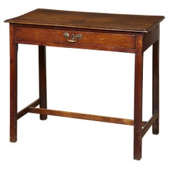 """Georgian Oak Side Table with """"H"""" Stretcher"""
