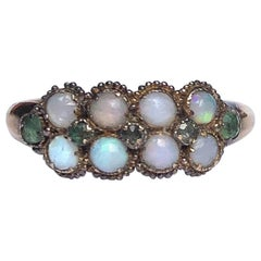 Georgian Opal and Emerald 15 Carat Gold Double Row Band