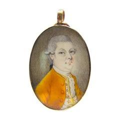 Georgian Original Military Portrait Miniature of a Young Officer, circa 1790