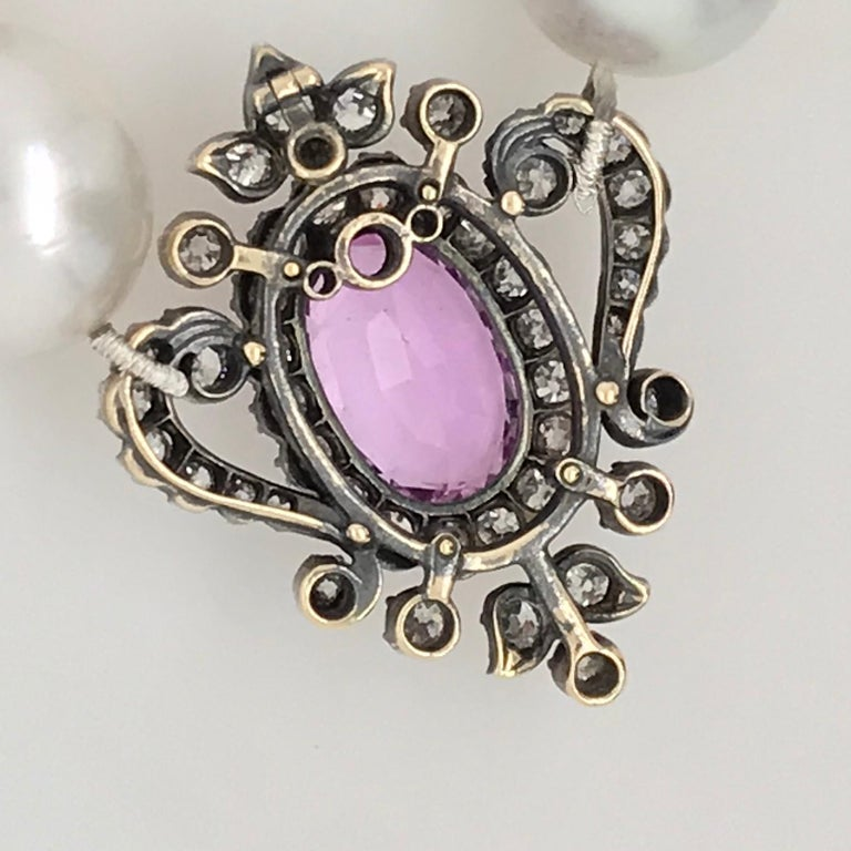 Oval Cut Georgian Oval Pink Topaz and Old Cut Diamond Pendant Set in Silver and Gold For Sale