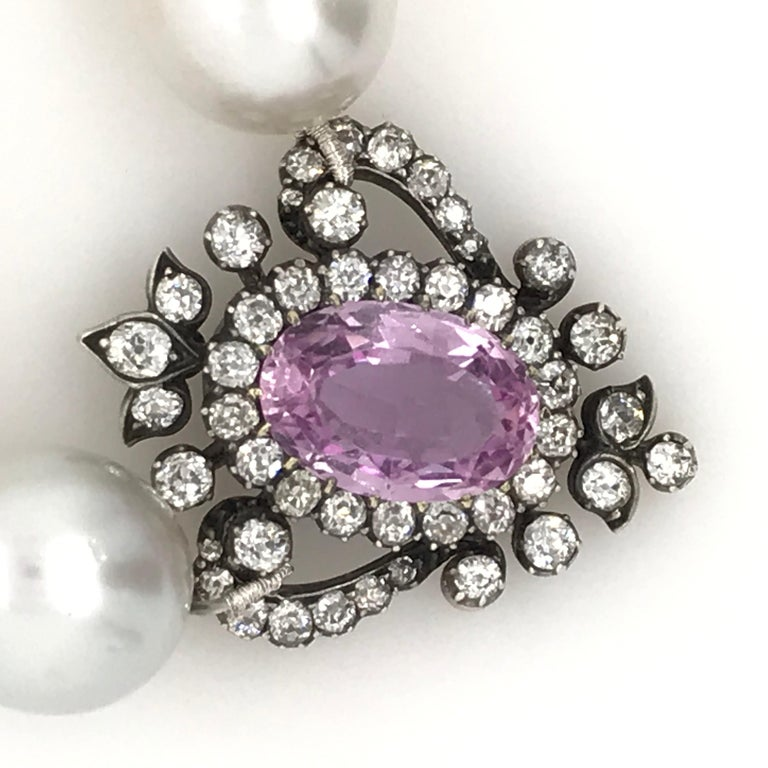 Georgian Oval Pink Topaz and Old Cut Diamond Pendant Set in Silver and Gold In Good Condition For Sale In Armadale, Victoria