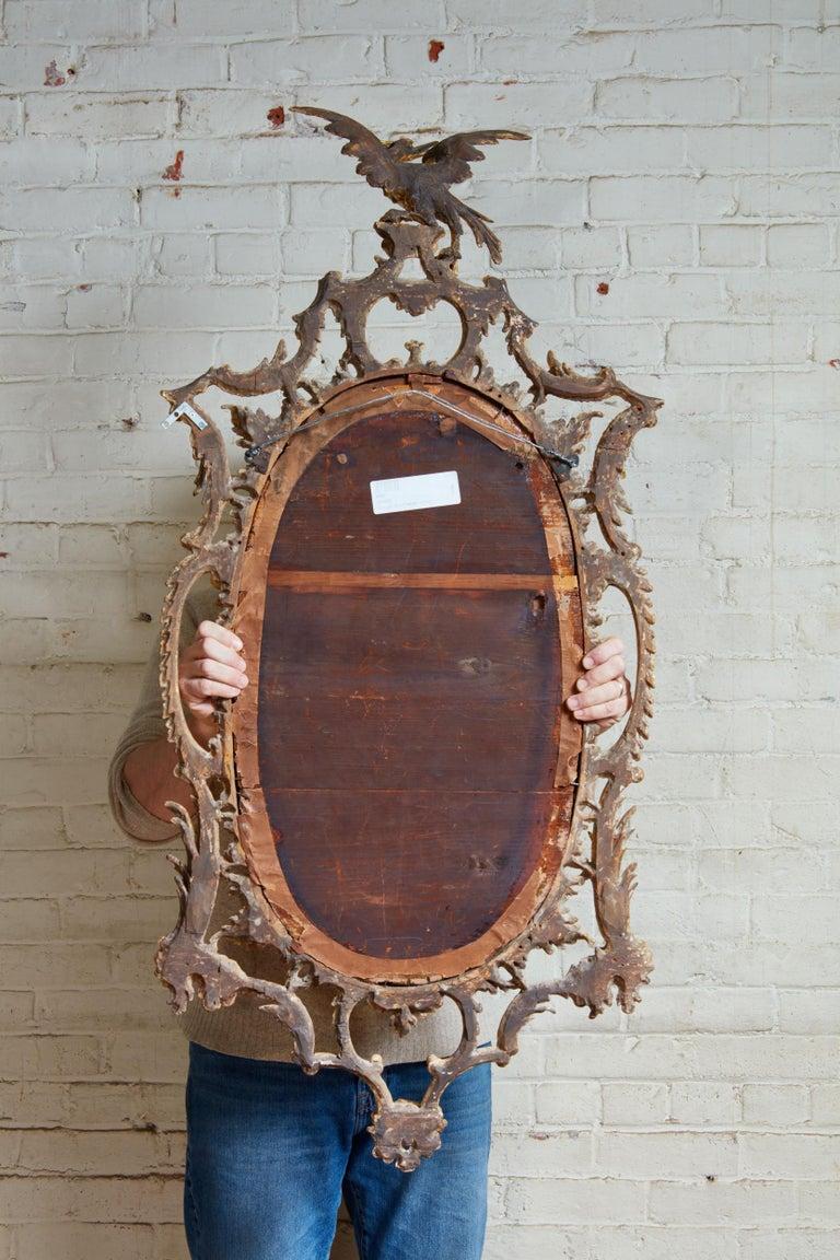 Giltwood Georgian Oval Rococo Mirror For Sale