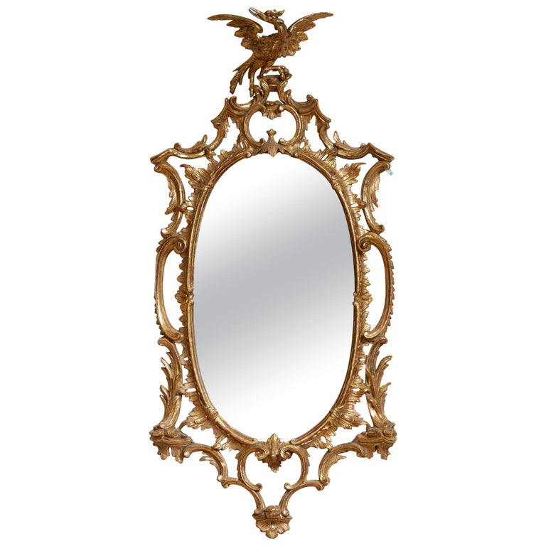 Georgian Oval Rococo Mirror For Sale