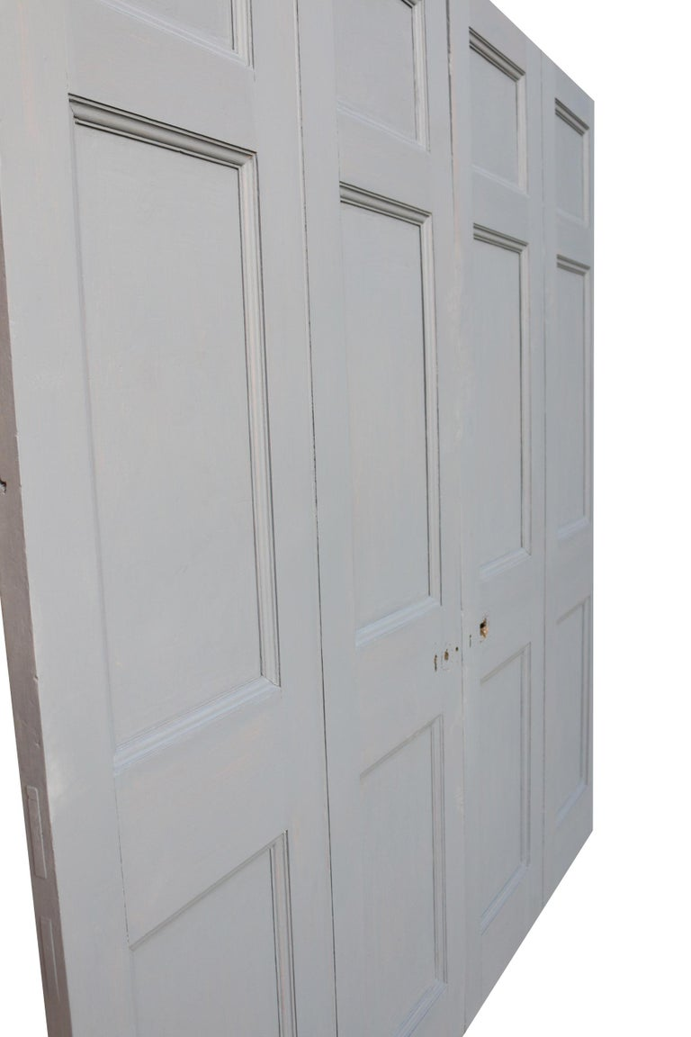 Georgian Painted Mahogany Double Doors In Fair Condition For Sale In Wormelow, Herefordshire