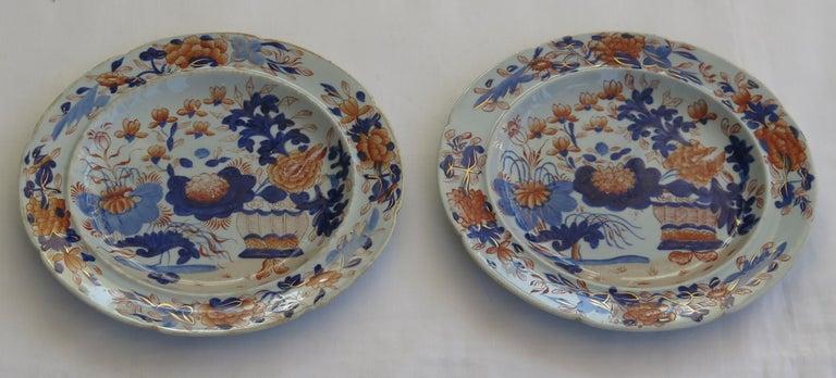Georgian Pair Mason's Ironstone Side Plates Gilded Basket Japan Pattern, Ca 1815 For Sale 4