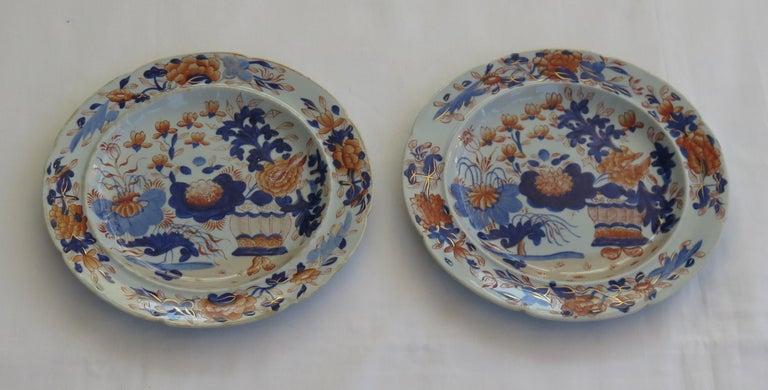 Georgian Pair Mason's Ironstone Side Plates Gilded Basket Japan Pattern, Ca 1815 For Sale 5