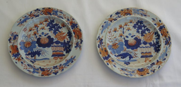 This is a good early pair of Mason's Ironstone pottery side plates, hand painted in the very decorative gilded basket Japan pattern, produced by the Mason's factory at Lane Delph, Staffordshire, England, in the George 111rd period, circa