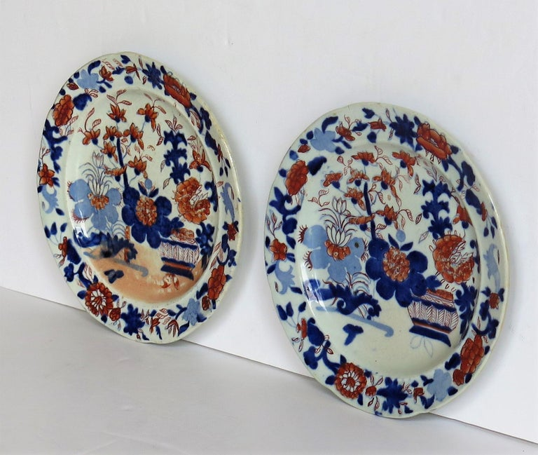 Hand-Painted Georgian Pair of Mason's Ironstone Tea Plates Basket Japan Pattern, circa 1818 For Sale