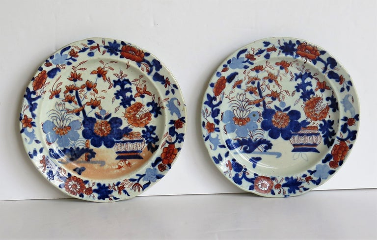 Georgian Pair of Mason's Ironstone Tea Plates Basket Japan Pattern, circa 1818 In Good Condition For Sale In Lincoln, Lincolnshire