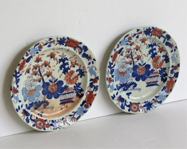 19th Century Georgian Pair of Mason's Ironstone Tea Plates Basket Japan Pattern, circa 1818 For Sale