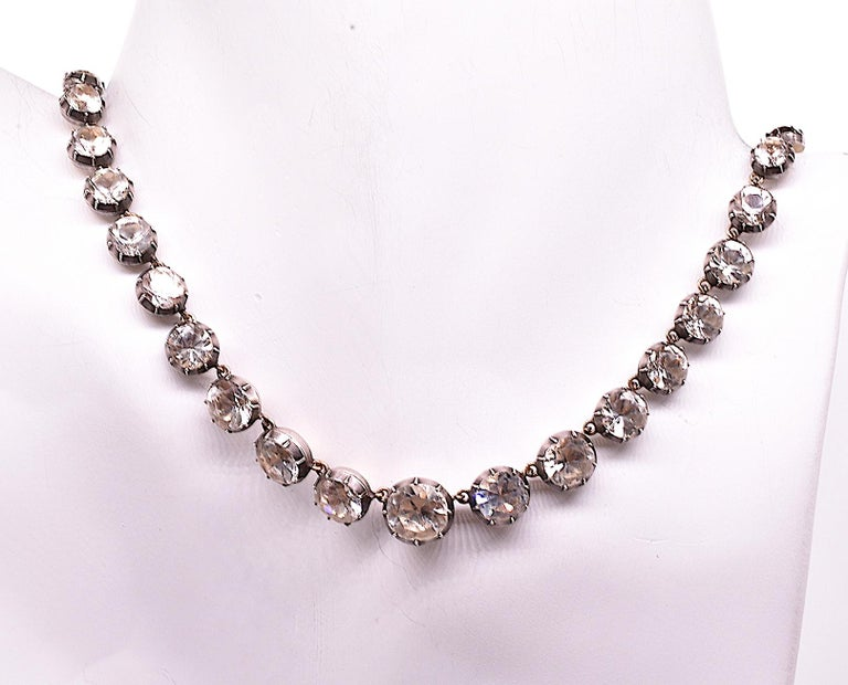 Georgian Paste and Silver Riviere Necklace, 16.5
