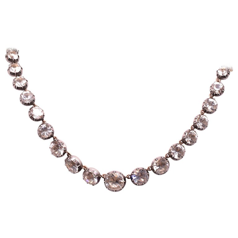 """Georgian Paste and Silver Riviere Necklace, 16.5"""" For Sale"""