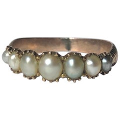 Georgian Pearl and Gold Seven Stone Band