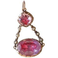 Georgian Pearl Pink Topaz Paste Gold pendant