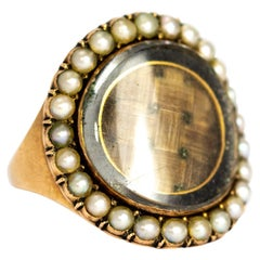 Georgian Pearl and Woven Hair Panel 9 Karat Gold Mourning Ring