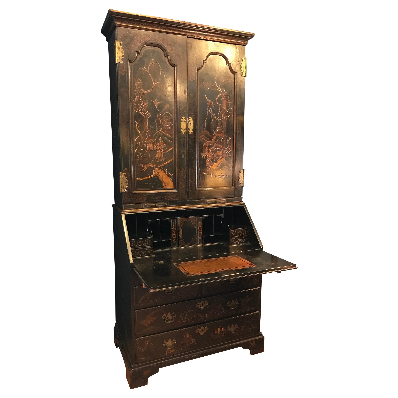 Georgian Period Chinoiserie Secretary Desk / Bookcase