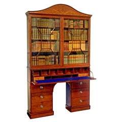 George III Period Satinwood and Mahogany Secretaire Bookcase Cabinet, shallow