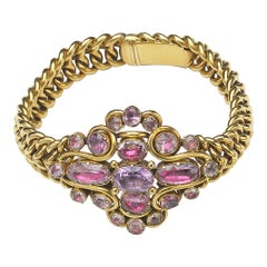 Georgian Pink Topaz and Gold Bracelet
