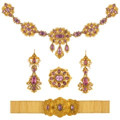 Georgian Pink Topaz and Gold Cannetille Suite