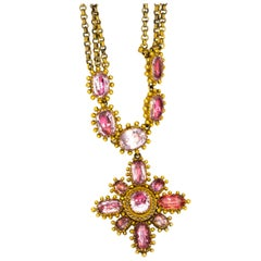 Georgian Pink Topaz and Gold Pendant and Chain