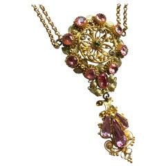 Georgian Pink Topaz and Peridot 15 Carat Gold Pendant Necklace
