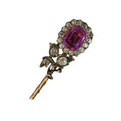 Georgian Pink White Paste Flower Head Rose Gold Stick Pin