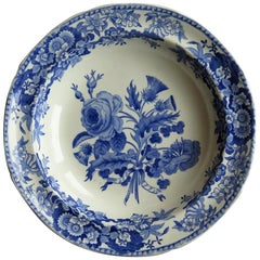 Georgian Plate or Bowl by Spode in Blue and White Union Wreath Ptn No. 3