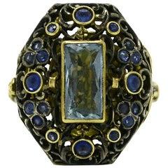 Georgian Poison Ring Casket Aquamarine and Sapphire 18 Karat Gold Silver, 1850