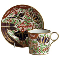 Georgian Porcelain Coffee Can and Saucer by Chamberlains Worcester Pattern 276