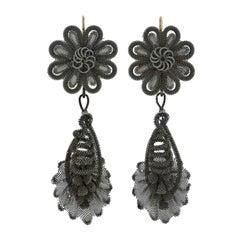Georgian Rare Berlin Iron Silesian Wirework Earrings