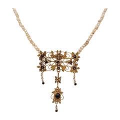 Georgian Rare Canetille Work Natural Garnet and Basra Pearls Brooch