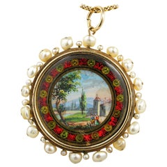 Georgian Rare Natural Pearl Painted Miniature Enamel Pendant 18 Karat