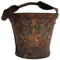 Georgian Red Leather Fire Bucket, England, 19th Century