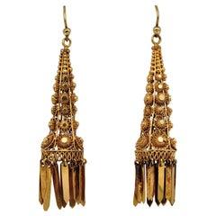 Georgian Regency 18 Karat Gold Rare Cannetille Work Drop Earrings