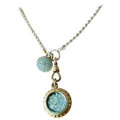 Georgian Relic Fob 10k gold Necklace with Sterling silver Chain