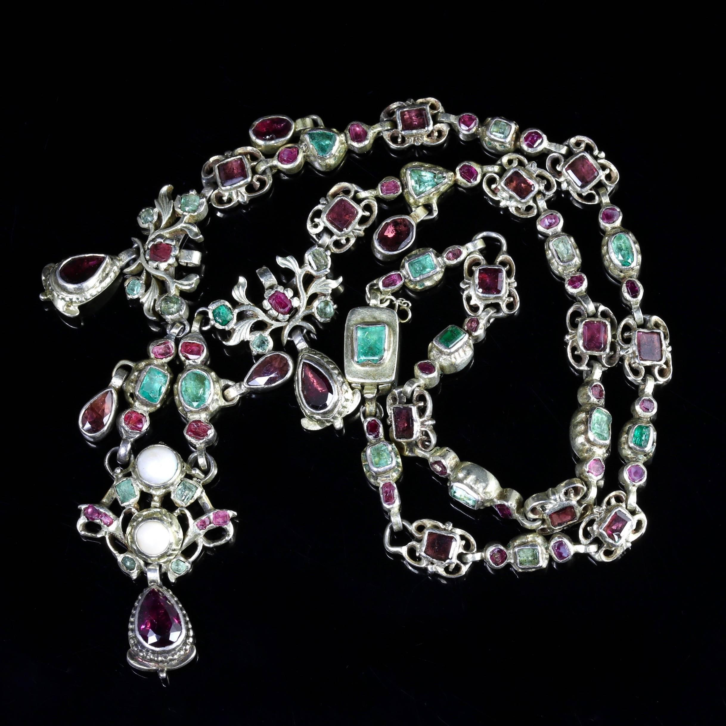 j drop renaissance necklace emerald garnet jewelry georgian id at hand master ruby necklaces circa