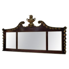 Georgian Revival English Mahogany and Giltwood Overmantle Mirror