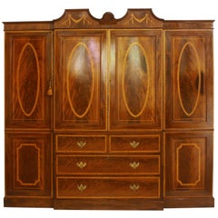 Georgian Revival Mahogany Breakfront Gentleman's Wardrobe/Press