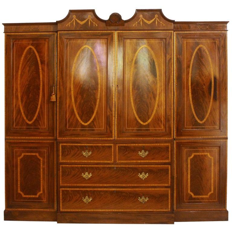 Georgian Revival Mahogany Breakfront Gentleman's Wardrobe/Press For Sale