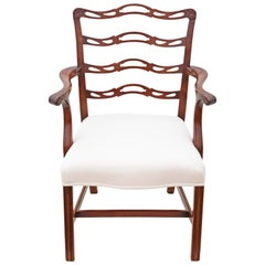 Georgian Revival Mahogany Elbow Carver Desk Chair