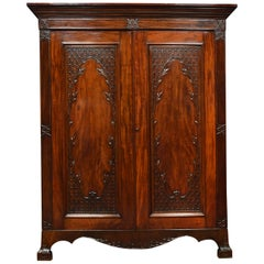 Georgian Revival Mahogany Two-Door Wardrobe