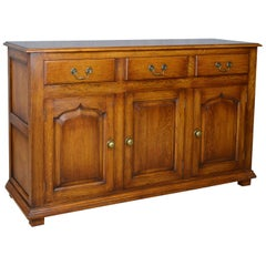 Georgian Revival Oak Sideboard, English Dresser Base, Late 20th Century